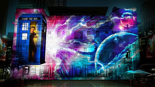 Vivid Sydney Doctor Who celebrates 50th Anniversary. Photo  Vivid Sydney and BBC.
