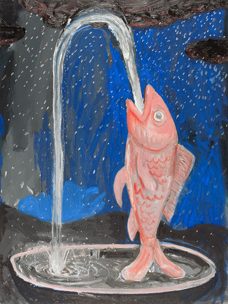 fish-fountain-at-night-(in-a-downpour)