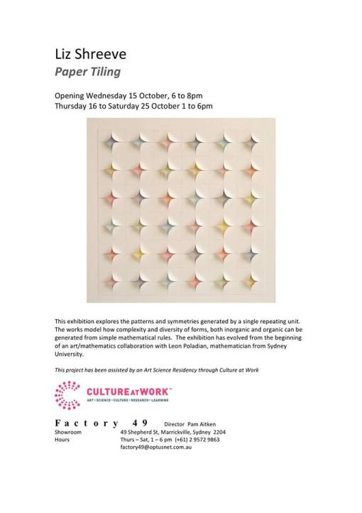 15th oct Liz Shreeve - Paper Tiling