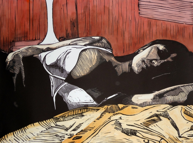 In bed with her thoughts - 56x76cm - Mark Rowden 2014 (c)